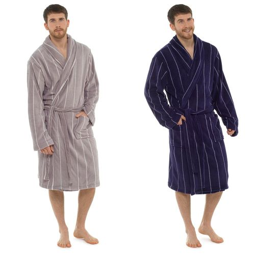 Mens Coral Fleece Pinstripe Gown