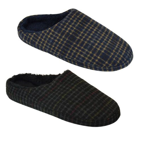 Mens Checked Fur Slippers